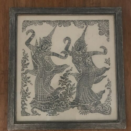 REDUCED! Vintage  Thai Temple Rubbing w/two Green Dancers