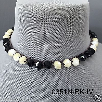 Real Leather String Faceted Natural Black Ivory Stone Beaded Toggle Necklace