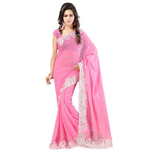 Indian Party Wear Designer Light Pink Faux Chiffon Embroidered Saree With Blouse available at Ebay for Rs.685