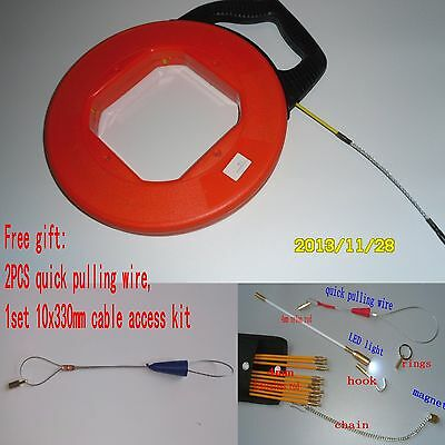 Fiberglass Fish Tape Reel Wire Pulling Tools Electrical Cable Puller Snake Rod