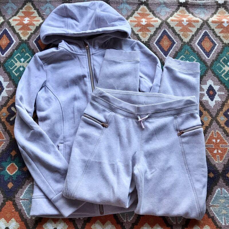 Athleta GIRL'S 2pc Pink Matching Full Zip Sweatshirt/Sweatpants Size XL (14)