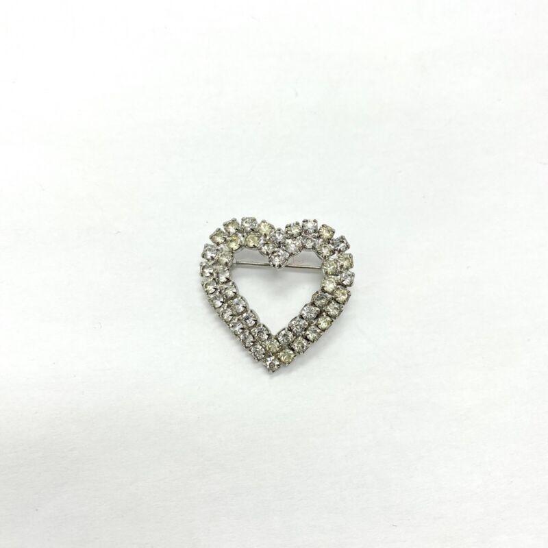 Vintage Heart brooch crystal rhinestone silver tone pin Love Valentine's Day