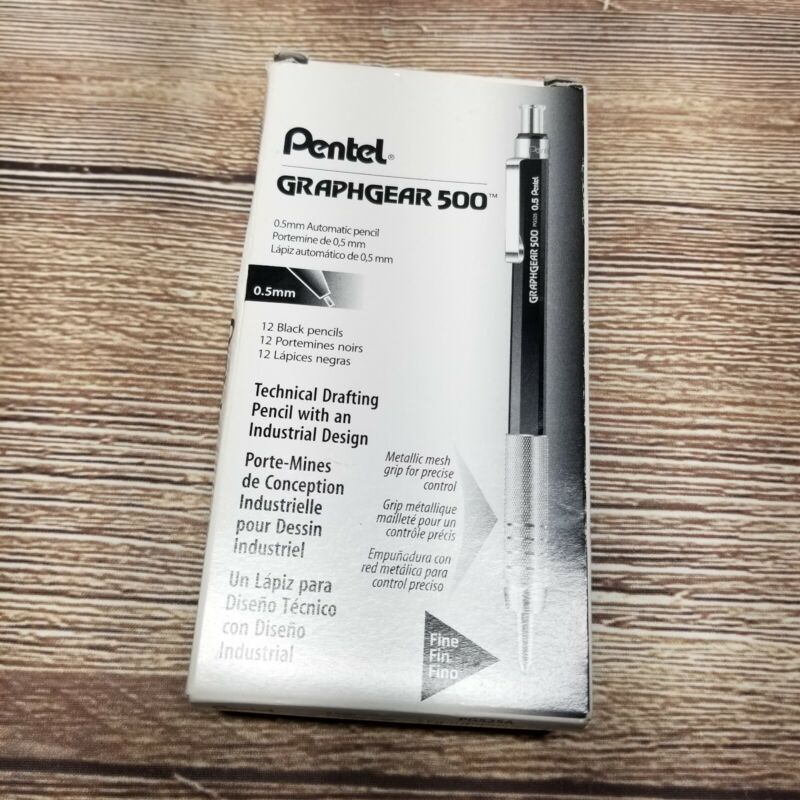 Pentel PG525A GraphGear 500 Automatic Drafting Pencil 0.5mm Fine Black 12 Pack