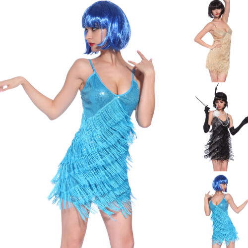 Vintage 1920s Flapper Girl Sequin Fringed Cocktail Party