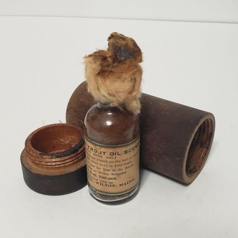 Antique Bottle Burbanks Trout Oil Bait For Trapping Mink