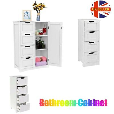 G4RCE Bathroom Storage Cabinet Wooden 4 Drawer Cupboard Free Standing Unit White