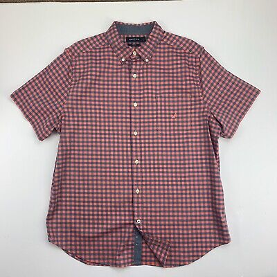 Nautica Button Down Shirt Men L Logo Pocket Plaid Short Sleeve