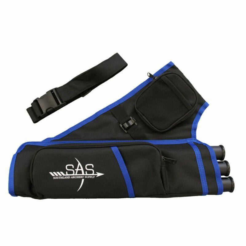 SAS 3 Tube Archery Target Quiver Range w/ Belt Blue Color RH - Open Box