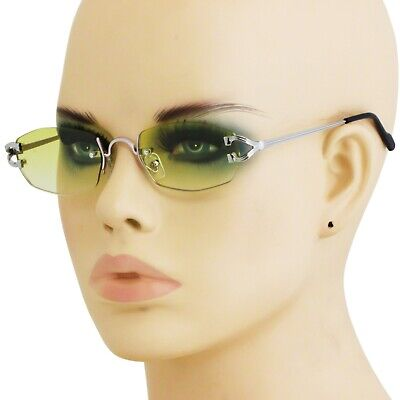 Men Classy CONTEMPORARY MODERN Style Sun Glasses Silver Rimless Frame Green -