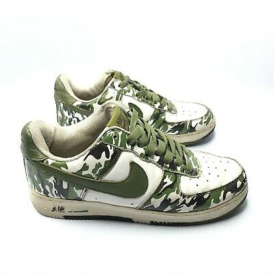 Nike Shoes Youth 5Y White Green Camo 2005 AF1 Air Force 1 306291-131
