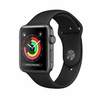 Apple Watch Series 3 GPS 42mm Space Grey Aluminium Case Sport Band Black