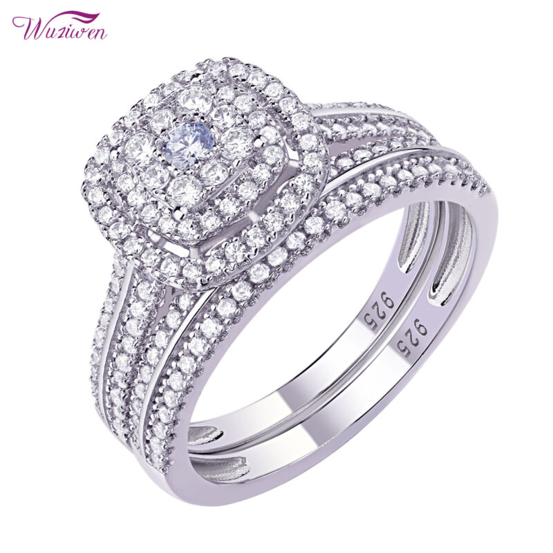 Wuziwen Wedding Rings Engagement Ring Set 1.6ct Round Aaaa Cz Sterling Silver