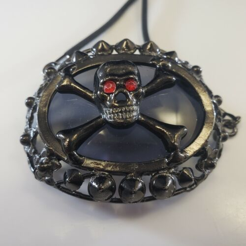 Vintage Halloween Corded Skull GOTHIC Spikes Gun Metal STATEMENT Necklace 3D🎃