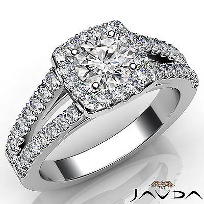 French Pave Set Split Shank Round Cut Diamond Engagement Ring GIA E VVS2 1.46ct.