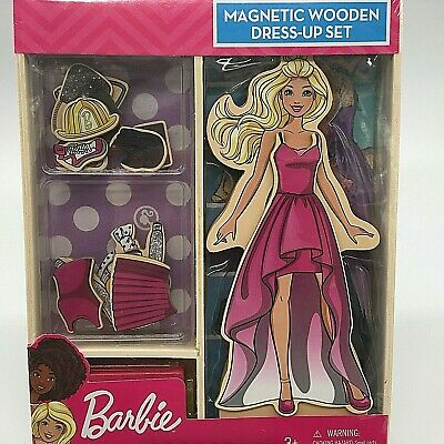 Barbie Doll Magnetic Wooden Dress-Up 23 Piece Set.Ages 3+. Wooden storage box.