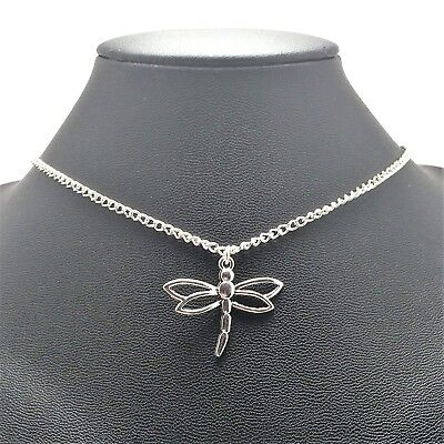 Dragonfly Summer Necklace Sterling Silver Plated Chain Link Women's Jewelry Dragonfly Silver Plated Charms