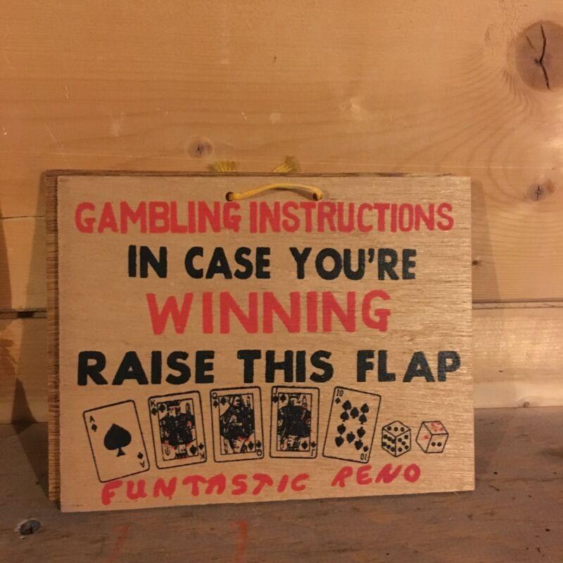Funtastic Reno Gambling Sign Funny Humor vintage wooden souvenir wood mancave