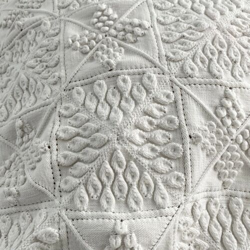 Knit Knitted Lace Coverlet Vintage French hand-made or textile  shabby chic