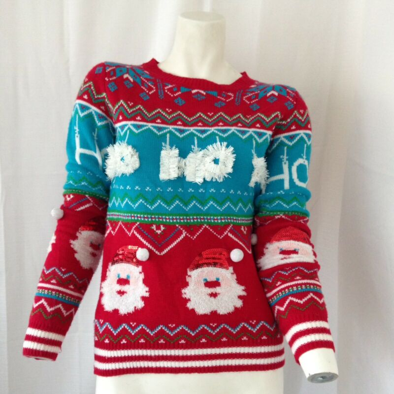 No Boundaries Child Youth Multicolored Santa Ugly Christmas Sweater Small