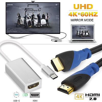 Type C to HDMI 4K@60Hz Adapter + HDMI 2.0 Cable for iMac S8 LG G6 Chromebook-US