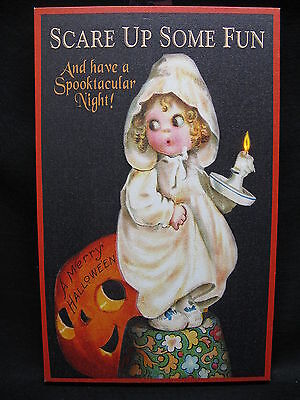 Halloween Lighted Canvas Wall Decor Sign Pumpkin Art On Off Switch New Candle](Halloween Wall Decor)