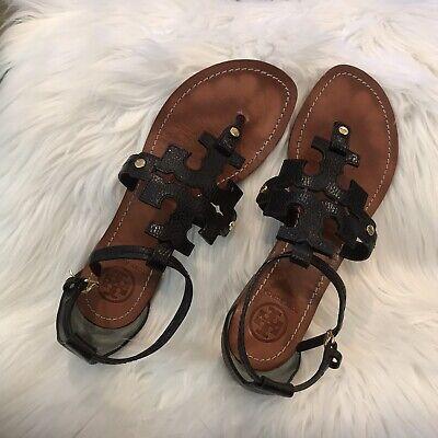 Tory Burch Phoebe Flat Thong Sandal Size 8 Black Leather.