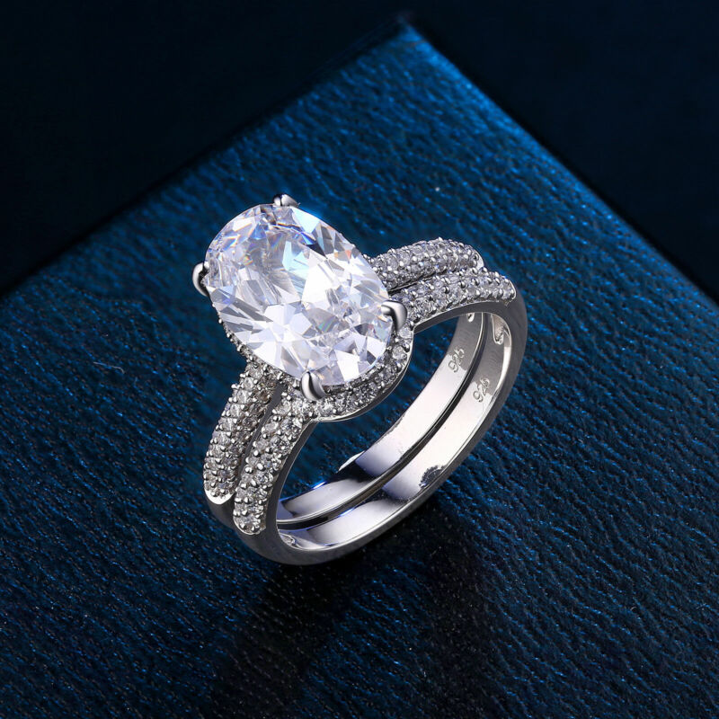 Wedding Engagement Ring Set For Women 7ct Oval 925 Sterling Silver White Aaaa Cz
