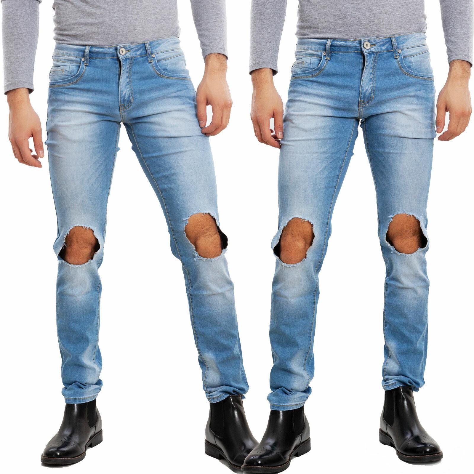 Jeans uomo aderenti cargo tasconi casual denim slim fit strappati TOOCOOL E6690