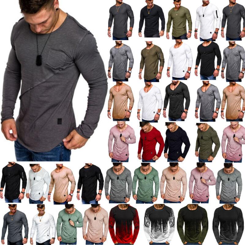 Herren Langarm Fitness Gym Sport T-Shirt Sweatshirt Pullover Steckbrücke Bluse