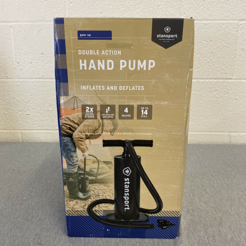 StanSport Gear Up Double Action Hand Air Pump 66 GAL Non Kink Hose 436