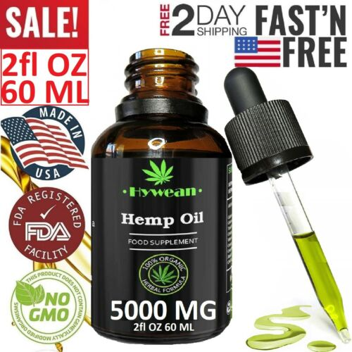 PREMIUM 5000 MG Organic Hemp Oil Drops Pain Relief Reduce Stress Better Sleep