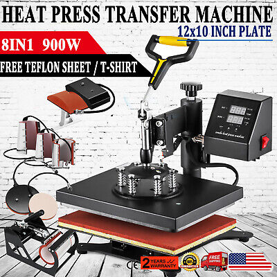 8 In 1 Digital T-shirt Heat Press Sublimation Transfer Machine T-shirt Mug Hat