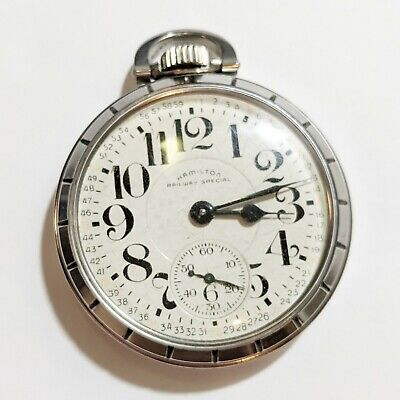 1956 Hamilton Railway Special Pocket Watch 992B railroad stainless steel RUNS