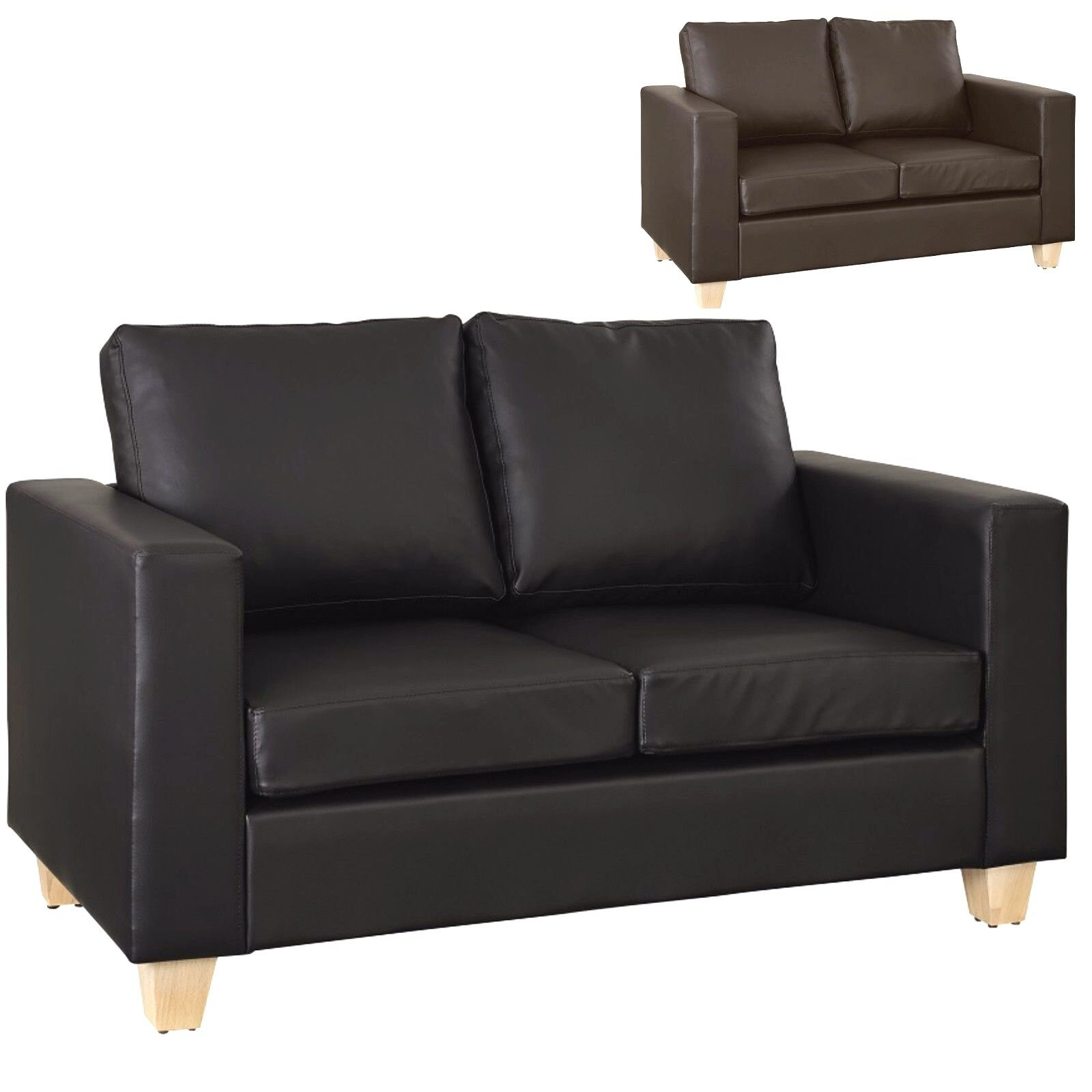 Details about 2 Seater Sofa Black or Brown Faux Leather Modern Design Living Room Office