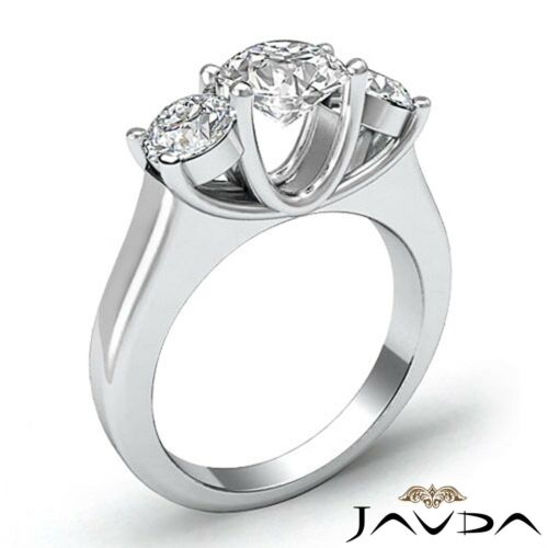 Round Javda Diamond Engagement GIA F SI1 Platinum 3 Three Stone Trellis Ring 2ct
