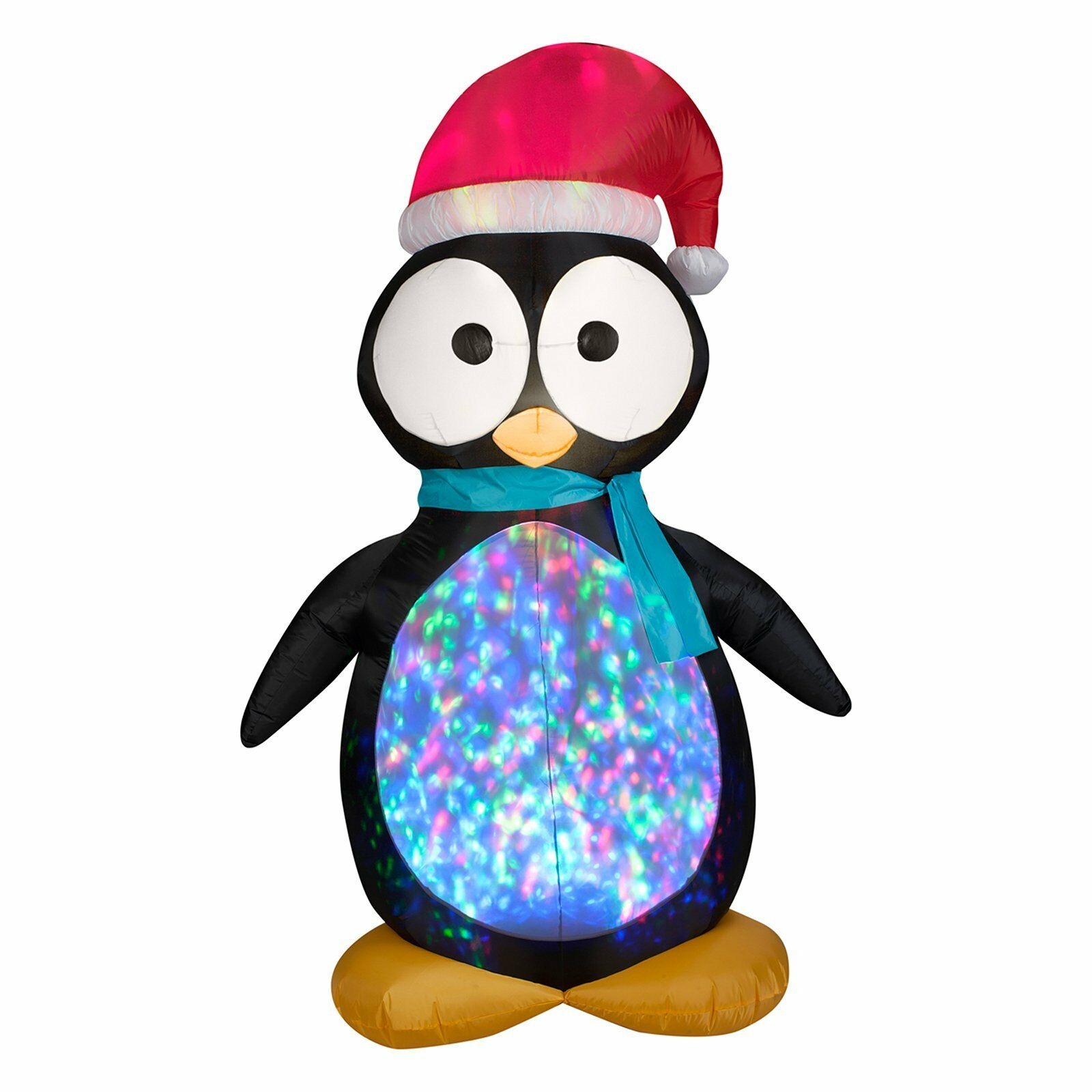 7.5' Projection Kaleidoscope Penguin Inflatable Outdoor Christmas Decor