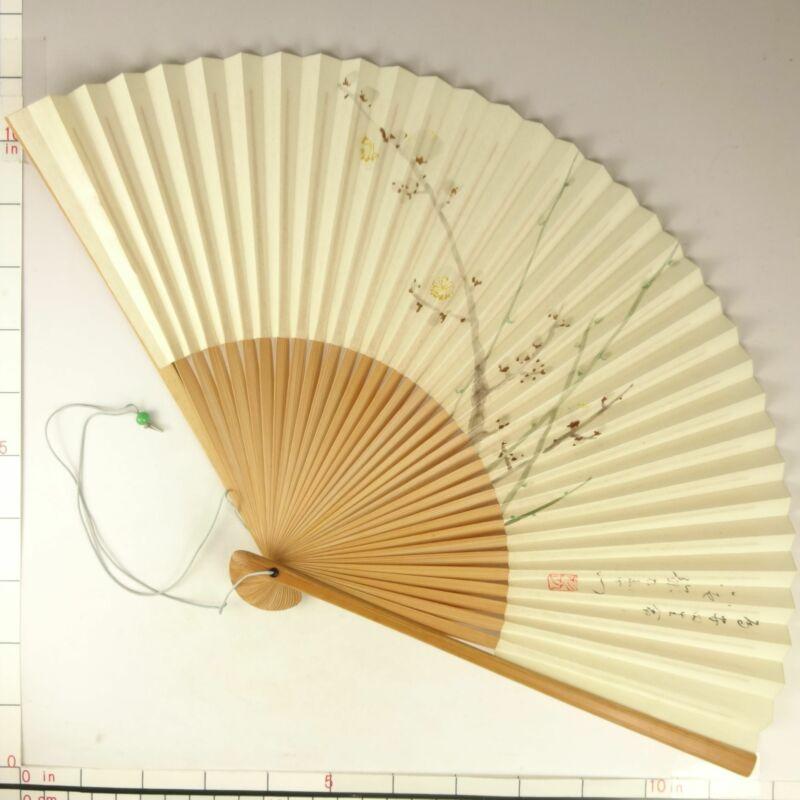 YU176 SENSU Japanese Fan Art painting Nihonga Picture Traditional crafts Vintage