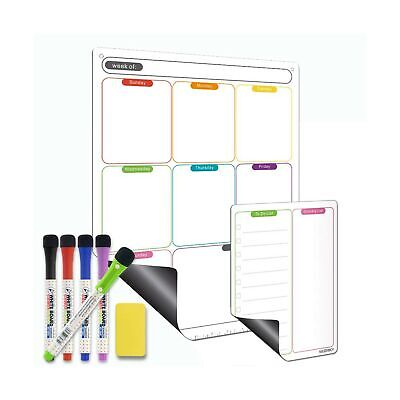 Magnetic Calendar For Refrigerator Set. Vertical Weekly Dry Erase Fridge Cale...