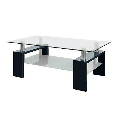 Mesa de centro cristal y lacada en Negro Brillo ,mesas salon, misouri