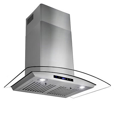 "30"" Stainless Steel Wall Mount Range Hood with Tempered Glass Touch Panel Baffle"