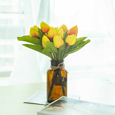 12 Yellow Silk Tulip Bushes with 108 Flowers Wedding Party Centerpieces Bouquets Bushes With Yellow Flowers