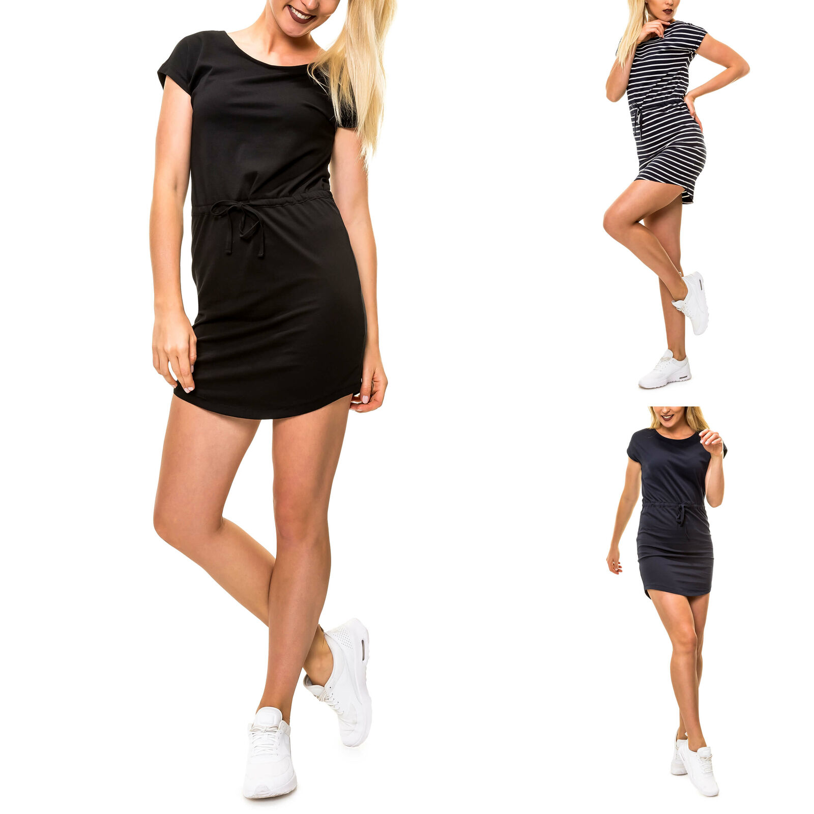 Only Damen Jersey Sommer Kleid Strandkleid Stretchkleid Shirtkleid Kurzarmkleid