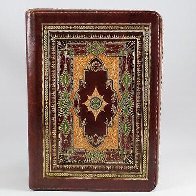 Leather Zip-around Portfolio Colorful Intricate Embossed Design Padfolio Regular