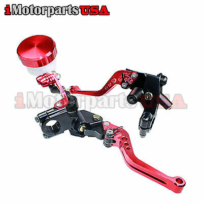RED SHORTY BRAKE CLUTCH LEVERS W/ MASTER CYLINDER SUZUKI GSXR 600 750 1000