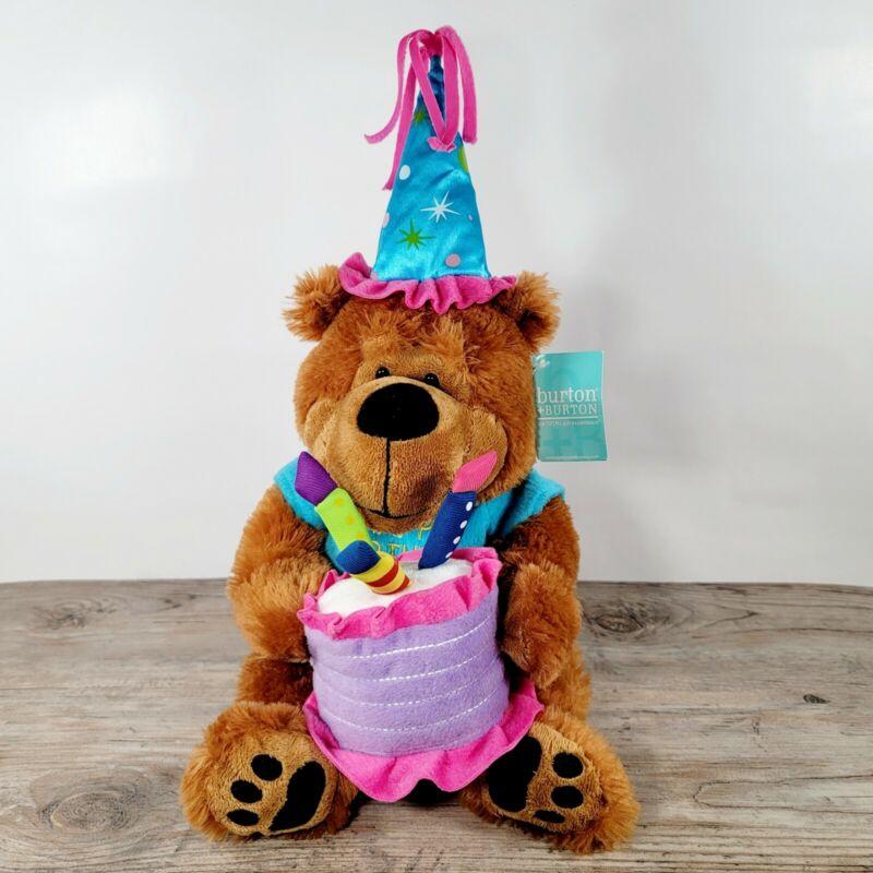 "Burton Musical Teddy Bear Plush With Cake That Plays Happy Birthday Song 18"""