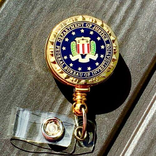 FBI ID Holder Gold Enameled Logo on Retractable ID Reel