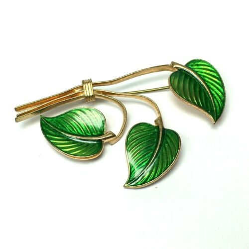 Green Enamel Pin Brooch Guilloche Leaf Stems Vintage