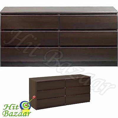 كومودينو جديد Bedroom Storage Dresser Chest Furniture Closet Double 6 Drawer Cabinet Espresso