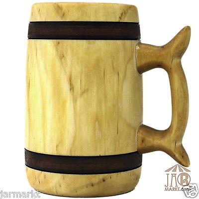 Holzkrug-Bierkrug - 0,5 L Holz-Krug Birke - Bierholzkrug aus geöltem Birkenholz