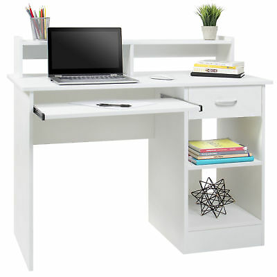 White Home Office (Computer Desk Home Laptop Table College Home Office Furniture Work Station)